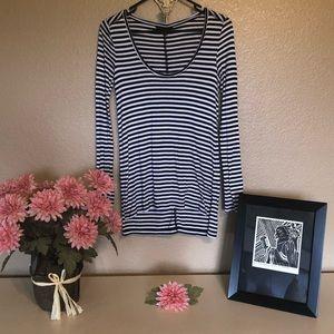 Black & White Striped Banana Republic Knit Top XS